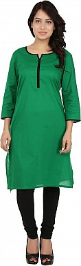 Green Solid Print Cotton  Kurti @ Rs617.00