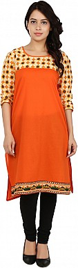 Orange Solid Print Cotton  Kurti @ Rs617.00