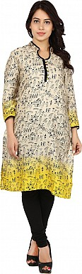 Beige Tribal Print Cotton  Kurti @ Rs741.00
