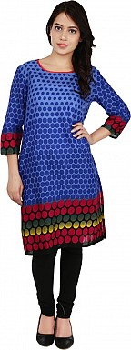 blue Dot Print Cotton  Kurti @ Rs741.00