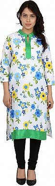 White Floral Print Cotton  Kurti @ Rs555.00