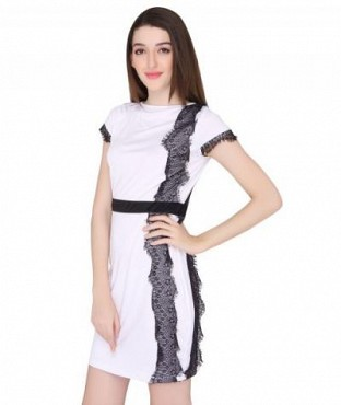 Elliana Dazzling Front White Skater Dress @ Rs977.00