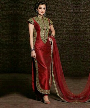 RED EMBROIDERED TRENDY SUIT @ Rs940.00