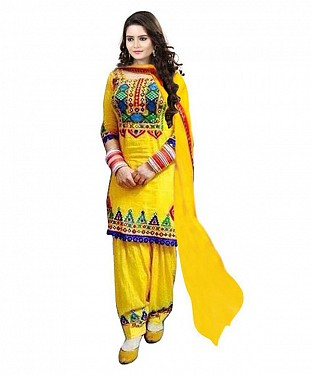 YELLOW EMBROIDERED SUIT@ Rs.1014.00
