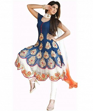 AWESOME EMBROIDERED  BLUE& WHITE COLLECTION SUIT@ Rs.754.00