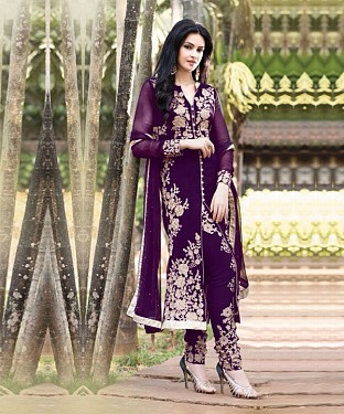 PURPLE EMBROIDERED LATEST SUIT@ Rs.1088.00