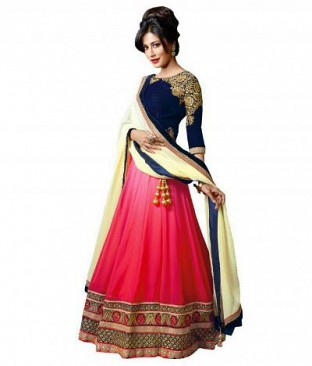 Pink Georgette Embroidered Unstiched Lehenga Choli And Dupatta set Buy Rs.1359.00