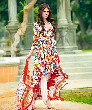 Unstitched Long Straight Pakistani printed suit @ Rs1051.00