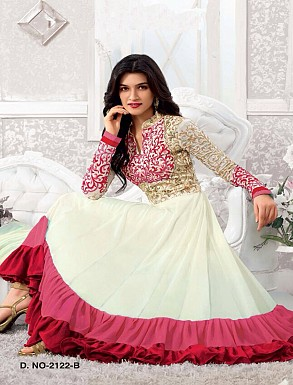 Thankar Kriti sanon White And Red Long Length Designer Anarkali Suits @ Rs988.00