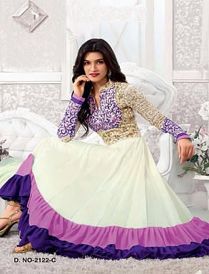 Thankar Kriti sanon White And purple Long Length Designer Anarkali Suits @ Rs988.00
