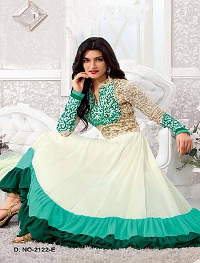 Thankar Kriti sanon White And sky Long Length Designer Anarkali Suits @ Rs1050.00