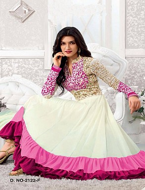 Thankar Kriti sanon White And Pink Long Length Designer Anarkali Suits @ Rs1050.00