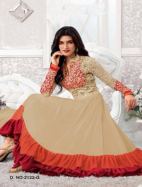 Thankar Kriti sanon Cream And Orange Long Length Designer Anarkali Suits @ Rs1050.00