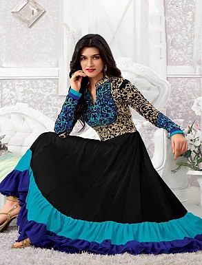 THANKAR KRITI SENON NEW BLACK DESIGNER ANARKALI SUITS @ Rs1297.00