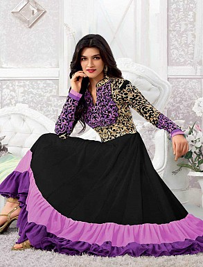 THANKAR KRITI SENON NEW PURPLE DESIGNER ANARKALI SUITS @ Rs1297.00