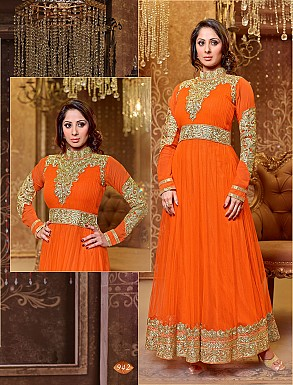 Thankar New Attractive Designer Georgette Orange Anarkali Suit @ Rs1421.00