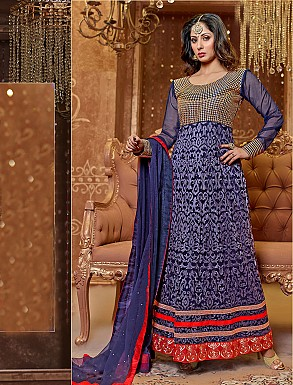 Thankar New Attractive Designer Georgette Blue Anarkali Suit @ Rs1421.00