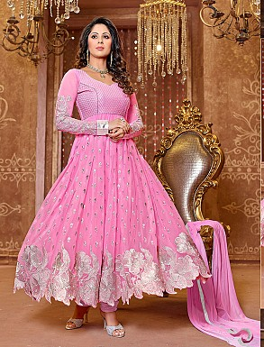 Thankar New Attractive Designer Georgette Pink Anarkali Suit @ Rs1112.00