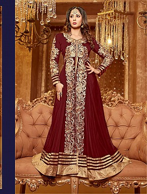 Thankar New Attractive Sangeeta Ghosh Maroon Anarkali Suit @ Rs1112.00