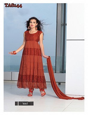 Thankar New Fabulous Designer Brasso Maroon Anarkali Suit @ Rs864.00