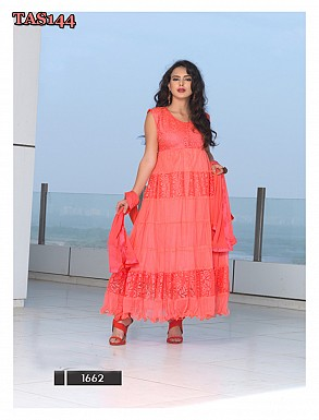 Thankar New Fabulous Designer Brasso Peach Anarkali Suit @ Rs864.00