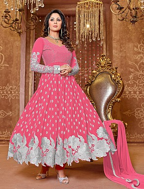 Thankar New Attractive Designer Georgette Peach Anarkali Suit @ Rs1050.00