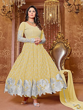 Thankar New Attractive Designer Georgette Yellow Anarkali Suit @ Rs1050.00