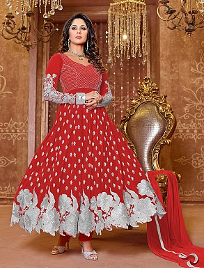 Thankar New Attractive Designer Georgette Maroon Anarkali Suit @ Rs1050.00