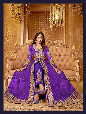 Thankar stylish sangita ghosh purple anarkali suit @ Rs1173.00
