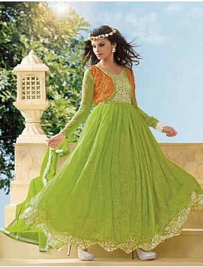 Thankar Attractive Net Brasso Designer Parrot Anarkali Suits @ Rs988.00