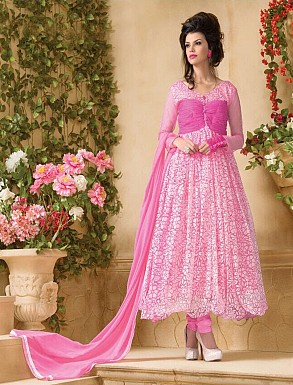 Thankar Attractive Net Brasso Designer Pink Anarkali Suits @ Rs679.00