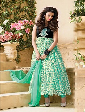 Thankar Attractive Net Brasso Designer Sky Anarkali Suits @ Rs988.00