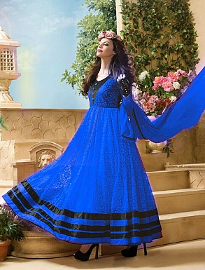 Thankar Attractive Net Brasso Designer Blue & Black Anarkali Suits @ Rs1050.00