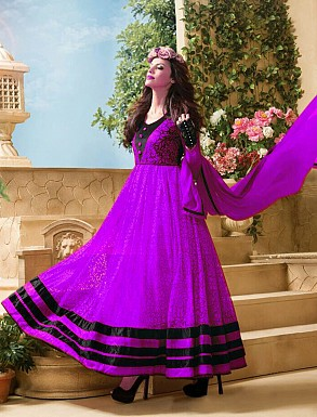 Thankar Attractive Net Brasso Designer Purple & Black Anarkali Suits @ Rs1050.00