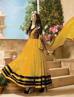 Thankar Attractive Net Brasso Designer Orange & Black Anarkali Suits @ Rs988.00