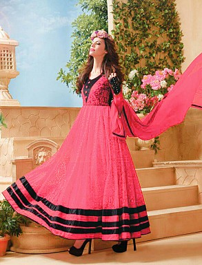 Thankar Attractive Net Brasso Designer Peach & Black Anarkali Suits @ Rs803.00