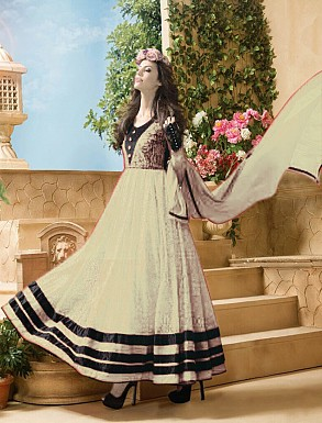 Thankar Attractive Net Brasso Designer White & Black Anarkali Suits @ Rs803.00