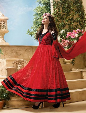 Thankar Attractive Net Brasso Designer Red & Black Anarkali Suits @ Rs1050.00