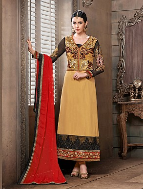 Thankar New Attractive Designer Straight Cream Anarkali Suit @ Rs4325.00