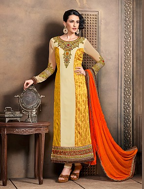 Thankar New Attractive Designer Straight Yellow Anarkali Suit @ Rs4325.00