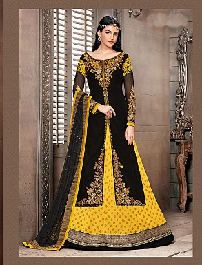Thankar New Attractive Designer Straight Yellow and Black Anarkali Suit @ Rs4325.00