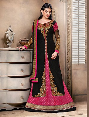 Thankar New Attractive Designer Straight Dark pink and black Anarkali Suit @ Rs4325.00