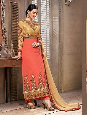 Thankar New Attractive Designer Straight Orange Anarkali Suit @ Rs4325.00