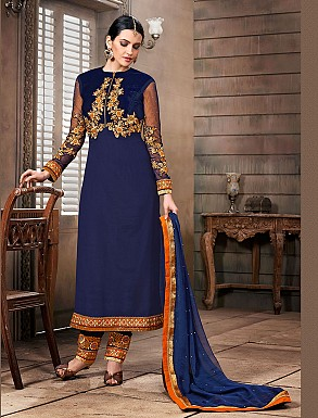 Thankar New Attractive Designer Straight Blue Anarkali Suit @ Rs4325.00