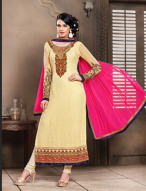 Thankar New Attractive Designer Straight Cream and Dark Pink Anarkali Suit @ Rs4325.00
