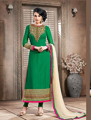 Thankar New Attractive Designer Straight Green And Cream Anarkali Suit @ Rs4325.00