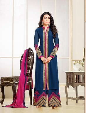 Thankar New Attractive Designer Blue And Pink Anarkali Suit With full Sleeve @ Rs1730.00