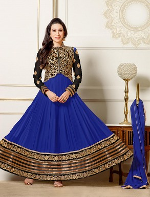Thankar New Attractive Designer Blue Anarkali Suit With full Sleeve @ Rs1730.00