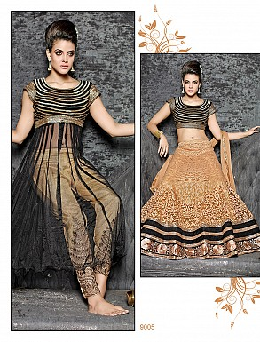 Thankar Latest Ocaasional Cream and Black Indo western style lahenga choli @ Rs1853.00
