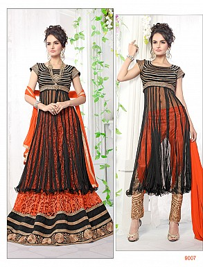 Thankar Latest Ocaasional Orange and Black Indo western style lahenga choli @ Rs1853.00